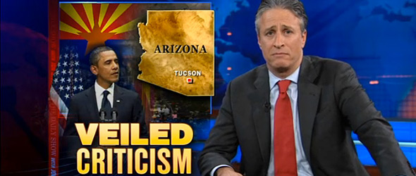 Veiled Criticism: Jon Stewart Ridicules Partisan Media Criticism Of Tucson Memorial (VIDEO)