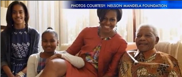 FLOTUS Michelle Obama Meets With Nelson Mandela In South Africa (VIDEO)