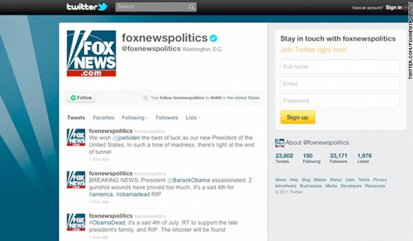 Hack Of Fox News Twitter Feed Says Obama Dead