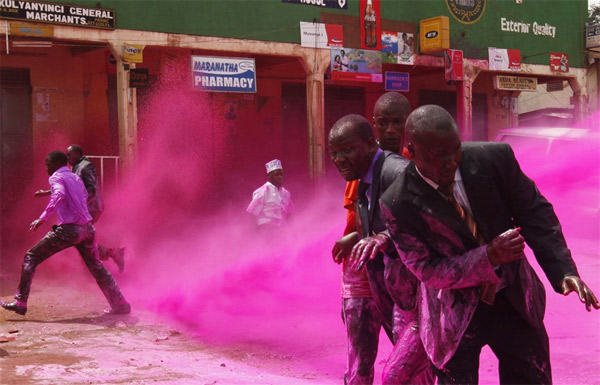 Ugandan Police Disperse Protesters With Water Cannon